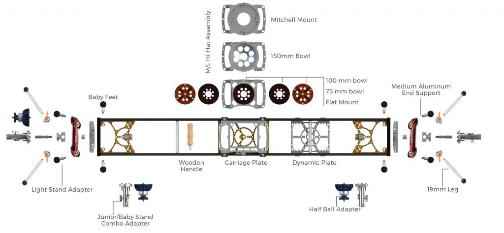 medium camera slider exploded view infographic